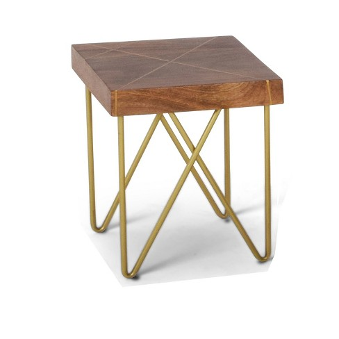 Walter End Table Mango Wood Top with Brass Inlay and Base - Steve Silver - image 1 of 1