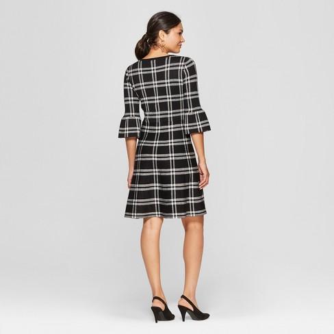 4f041e50749 Women s Plaid Bell Sleeve Sweater Dress - Spenser Jeremy - Black White    Target
