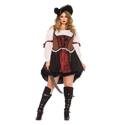 Adult Plus Size Pirate Halloween Costume Black/Red 3X