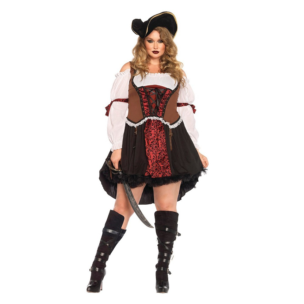 Steampunk Plus Size Clothing & Costumes Pirate Wench Womens Costume - XX-Large Size 2XL Black $49.99 AT vintagedancer.com