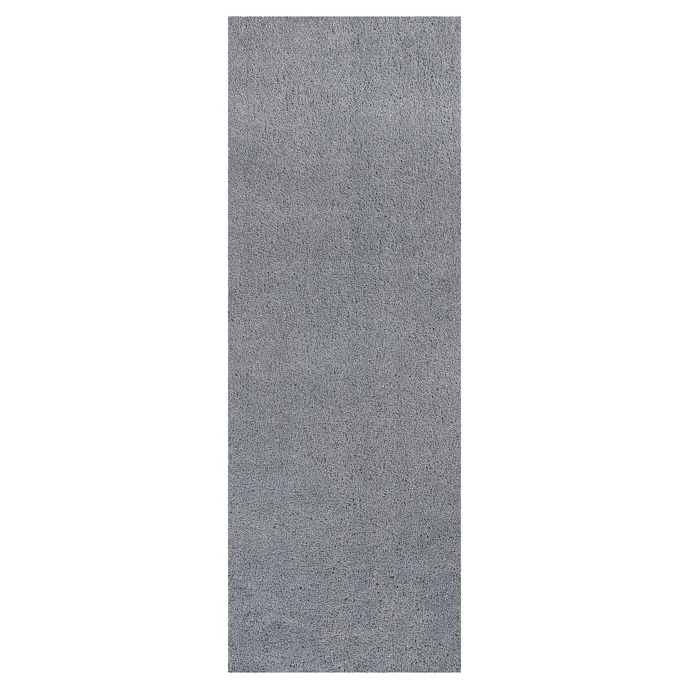 Gray Solid Woven Runner 2'3