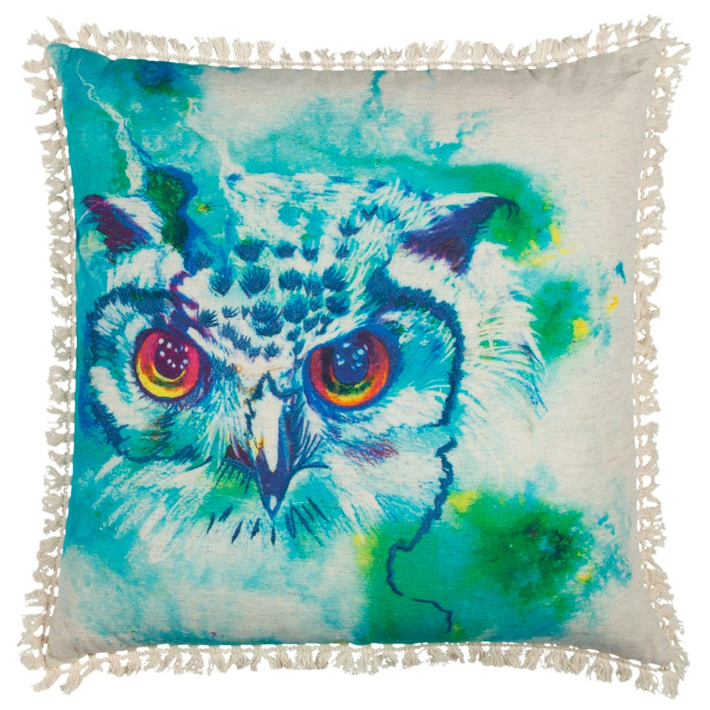 Image of Rizzy Home Owl Throw Pillow Blue