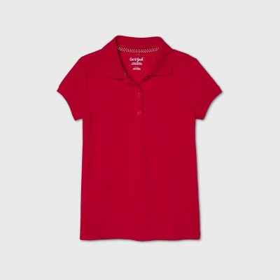 Girls' Short Sleeve Stretch Pique Uniform Polo Shirt - Cat & Jack™ Red