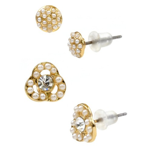 Crystal Stud and Crystal Flower Duo Earring - Gold - image 1 of 1