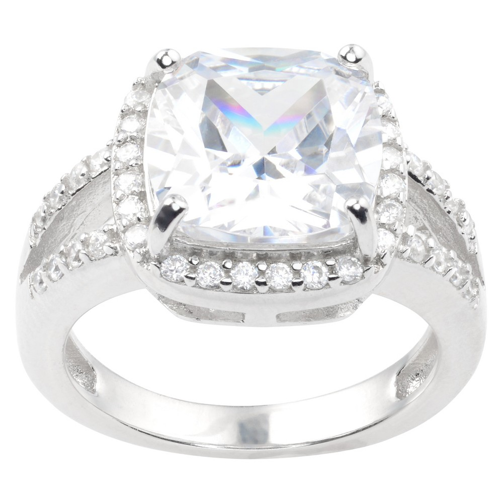 2 CT. T.W. Square-cut Cubic Zirconia Basket Set Engagement Ring in Sterling Silver - Silver (8)