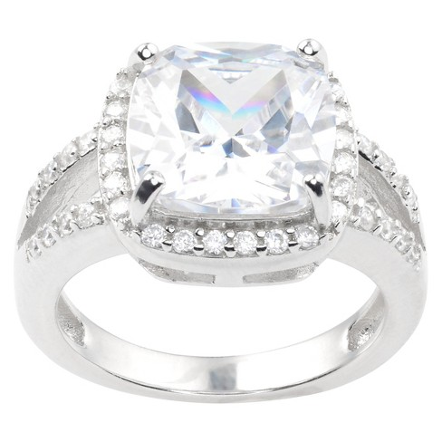 2 CT. T.W. Square-cut Cubic Zirconia Basket Set Engagement Ring in Sterling Silver - Silver - image 1 of 2