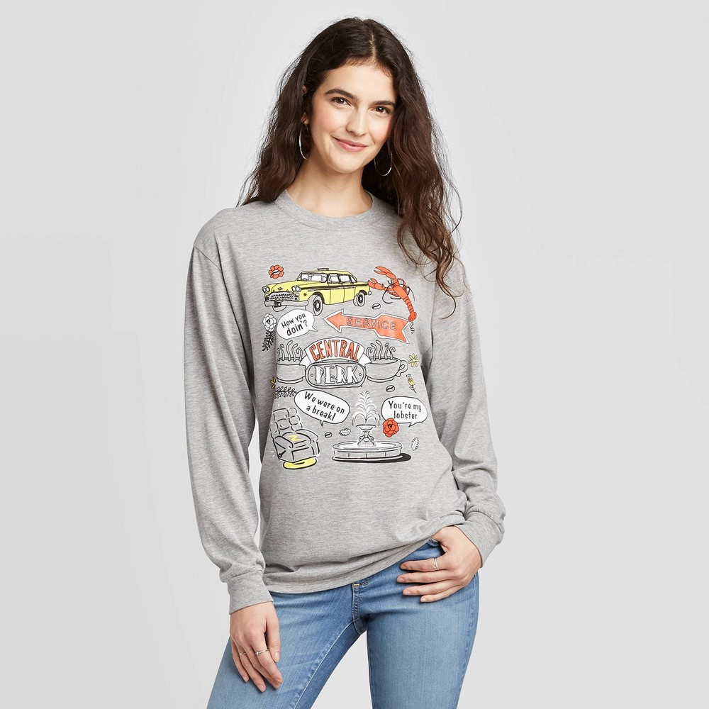 Image of Women's Friends Cartoon Icons Long Sleeve T-Shirt (Juniors') - Gray L, Women's, Size: Large
