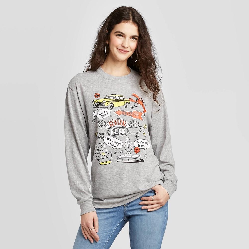 Image of Women's Friends Cartoon Icons Long Sleeve T-Shirt (Juniors') - Gray L, Women's, Size: Large