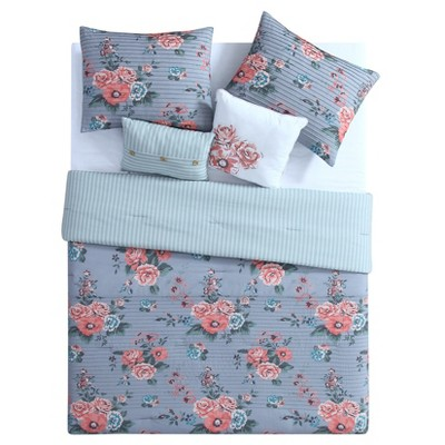 Gray & Pink Floral Katherine Comforter Set (Full/Queen)5pc - VCNY Home