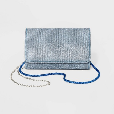 Estee & Lilly Snap Closure Sparkle Shimmer Clutch - Blue