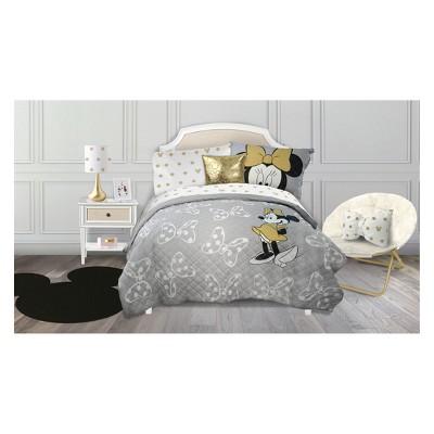 Disney Minnie Mouse Twin 2pc Quilt Set Gray/White