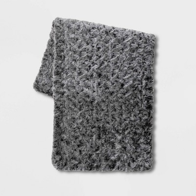 Textured Faux Fur Bed Scarf Gray - Threshold™