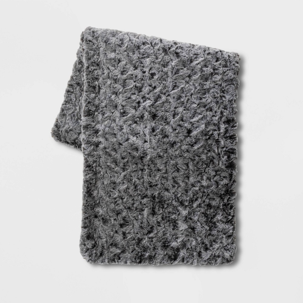 Cheap Textured Faux Fur Bed Scarf Gray - Threshold™