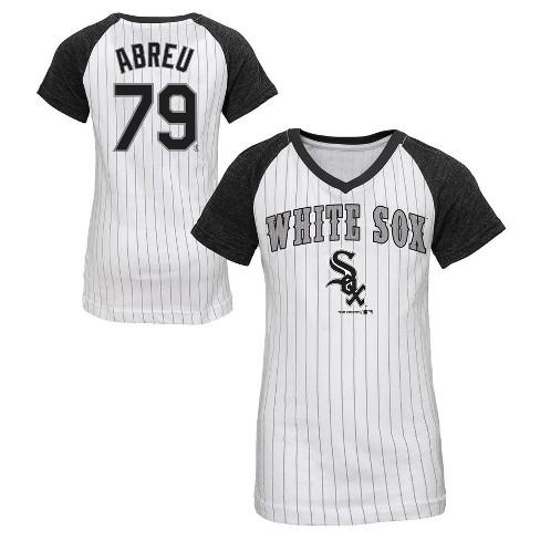 finest selection b0499 6b9a2 Chicago White Sox Girls' Jos Abreu Pinstripe T-Shirt Jersey - White S