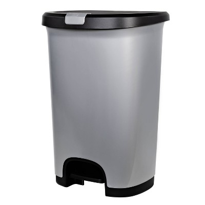 Hefty Select 12.7gal Lock Waste Step Trash Can Silver