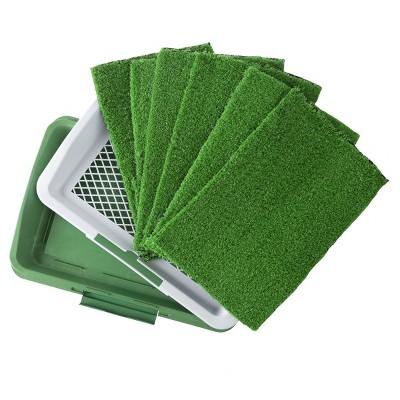 Pet Pal Artificial Grass Potty Trainer Mat Set Plus 5 Extra Mats, White and Green