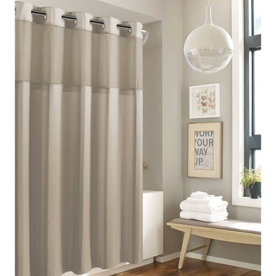 Striped Waffle Shower Curtain Beige - Hookless