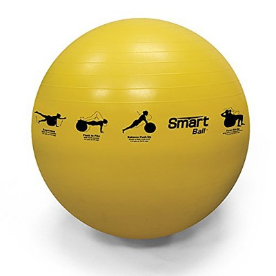 Prism Fitness 55cm Smart Self-Guided Stability Exercise Ball for Yoga, Pilates, and Office Ball Chair, Yellow