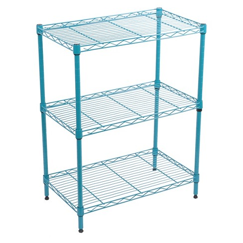 Wire Cage Shelves   3 Tier Adjustable Wire Shelving Turquoise Room Essentials Target