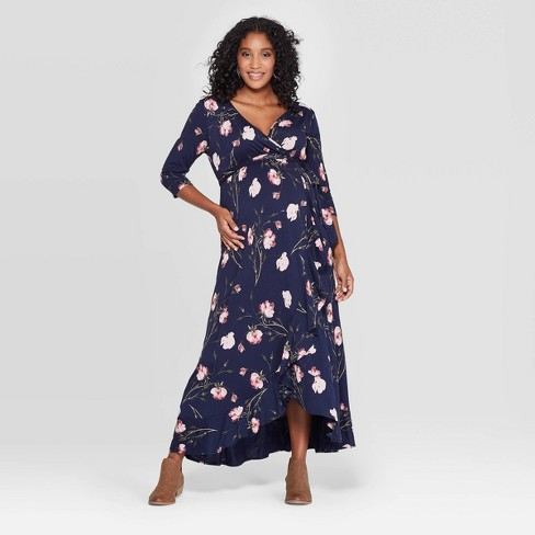 Maternity Floral Print 3/4 Sleeve Knit Wrap Maxi Dress - Isabel Maternity by Ingrid & Isabel™ Navy - image 1 of 2