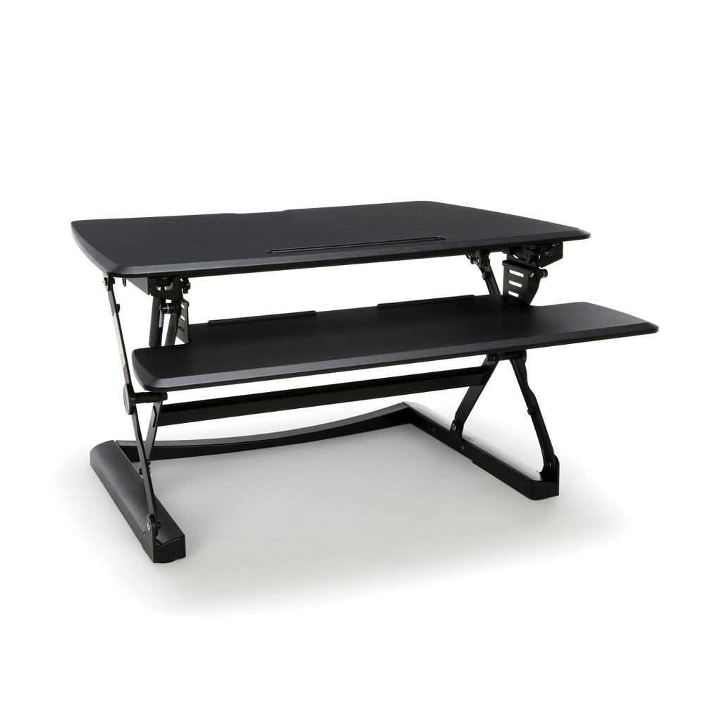 Image of Height Adjustable Sit to Stand Desktop Riser Black - OFM