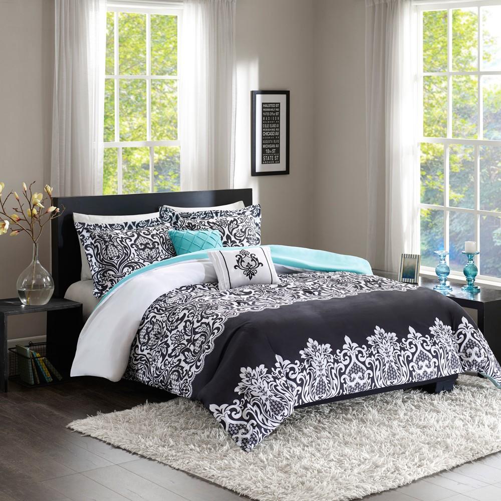Black & Aqua Peach Skin Comforter Set (King/California King) 5pc, Black/Blue