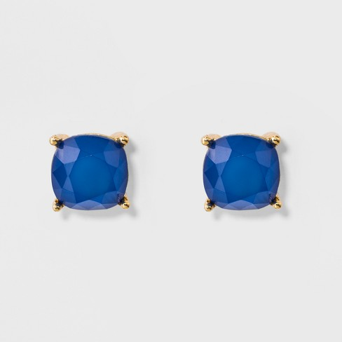 Faceted Stud with 4 Prongs Earrings - A New Day™ Blue/Gold - image 1 of 3
