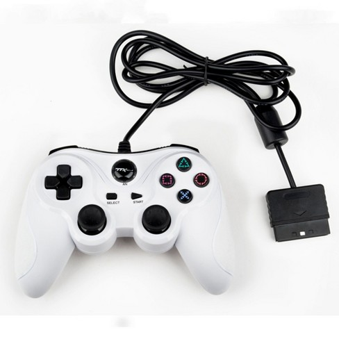 TTX Tech Analog Wired Controller Compatible with PlayStation 2/PlayStation 1, White - image 1 of 3
