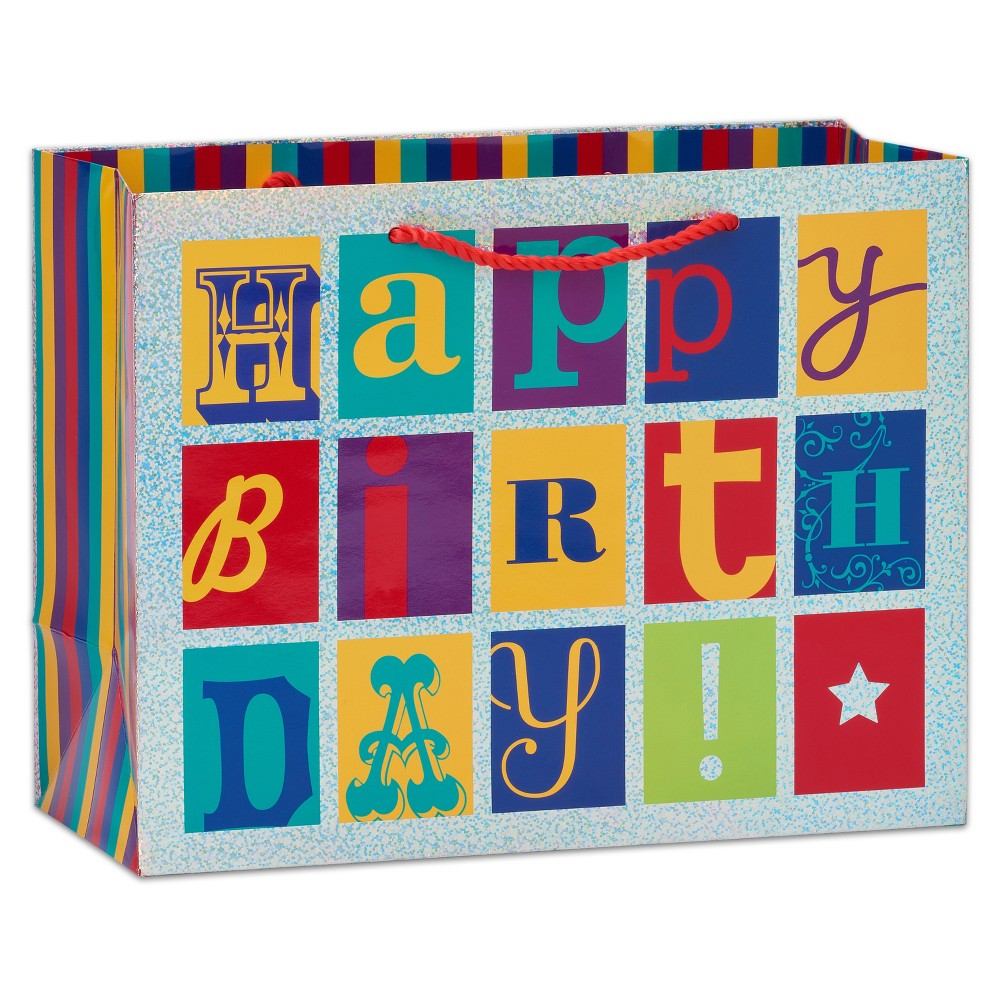 Papyrus Graphic Happy Birthday Large Gift Bag, Multi-Colored