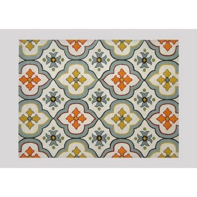 5'x7' Floral Bell Hand Tufted Indoor/Outdoor Area Rug Blue - Threshold™