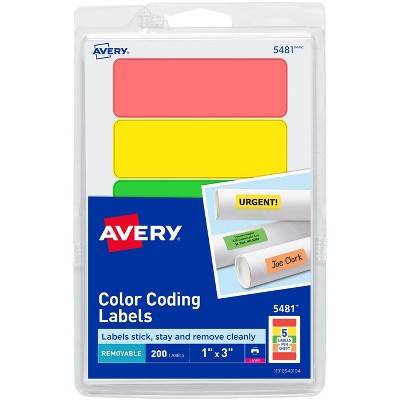 """Avery Removable Labels Rectangle 1""""x3"""" Fluorescent Asst. 05481"""