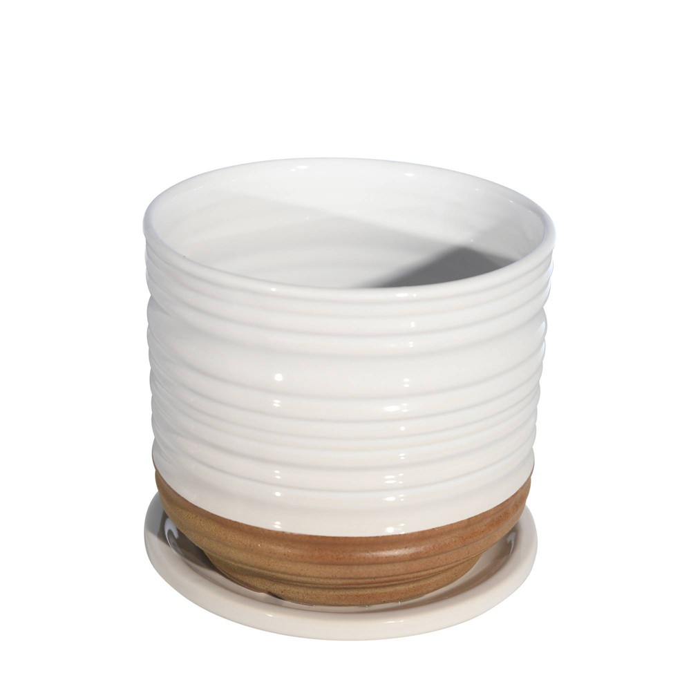 5 5 34 Textured Ceramic Planter With Saucer White Sagebrook Home
