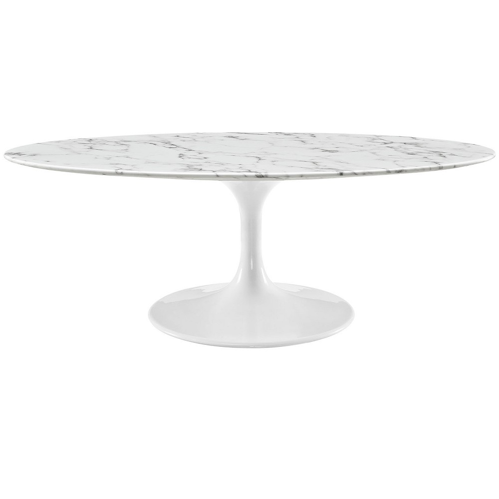 Lippa 48 OvalShaped Artificial Marble Coffee Table White - Modway