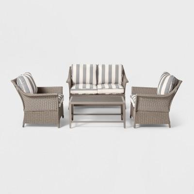 Foxborough 4pc Cabana Stripe Patio Conversation Set Navy/White - Threshold™