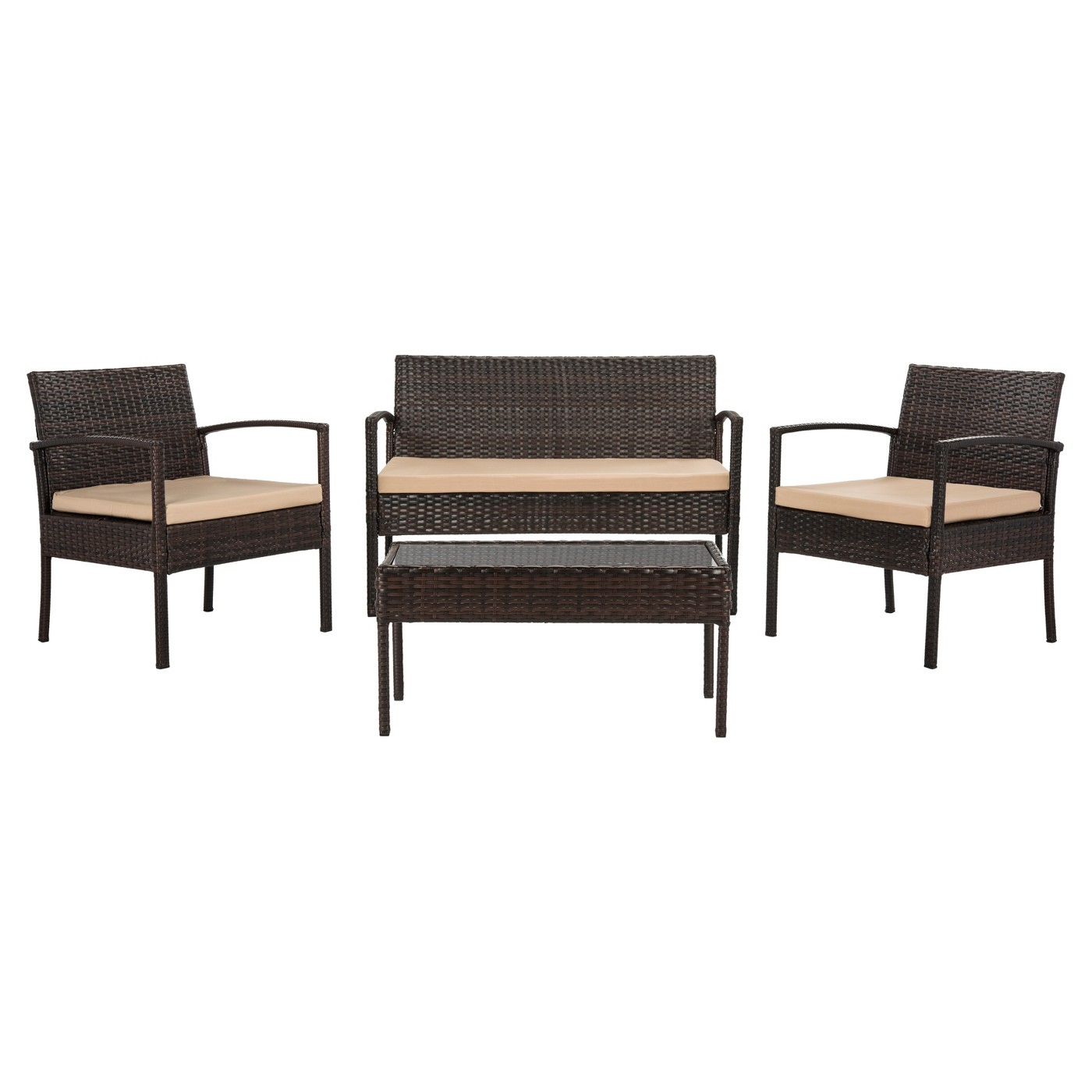 Safavieh Mattia 4pc All-Weather Wicker Patio Chat Set (Brown/Beige)