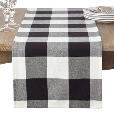 Black Plaid Table Runner - Saro Lifestyle