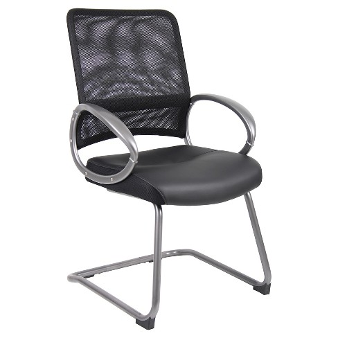 Mesh Back with Pewter Finish Guest Chair Black - Boss Office Products - image 1 of 4