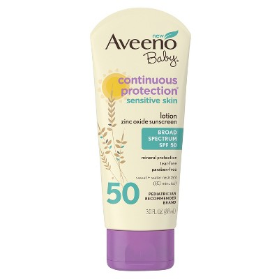 Aveeno® Baby Continuous Protection Sensitive - Zinc Oxide With Broad Spectrum Skin Lotion Sunscreen - SPF 50 - 3 fl oz