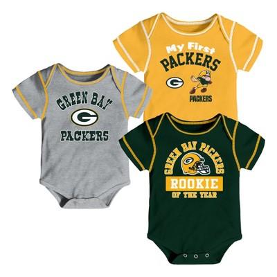 Green Bay Packers Boys' Newest Fan 3pk Bodysuit Set 6-9 M