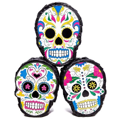 """Blue Panda 3-Pack Sugar Skull Mini Pinata Mexican Party Supply, Day of The Dead, Fiesta Parties, 4 x 7 x 2"""""""