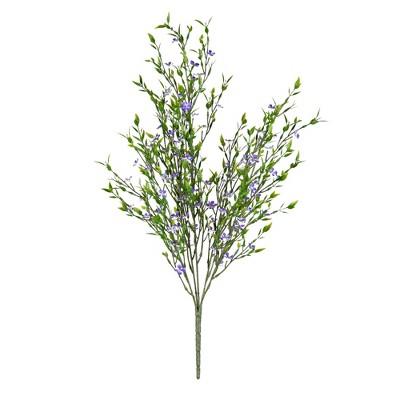 "Vickerman 22"" Artificial UV Coated Bush with Mini Purple Flowers and Greenery."