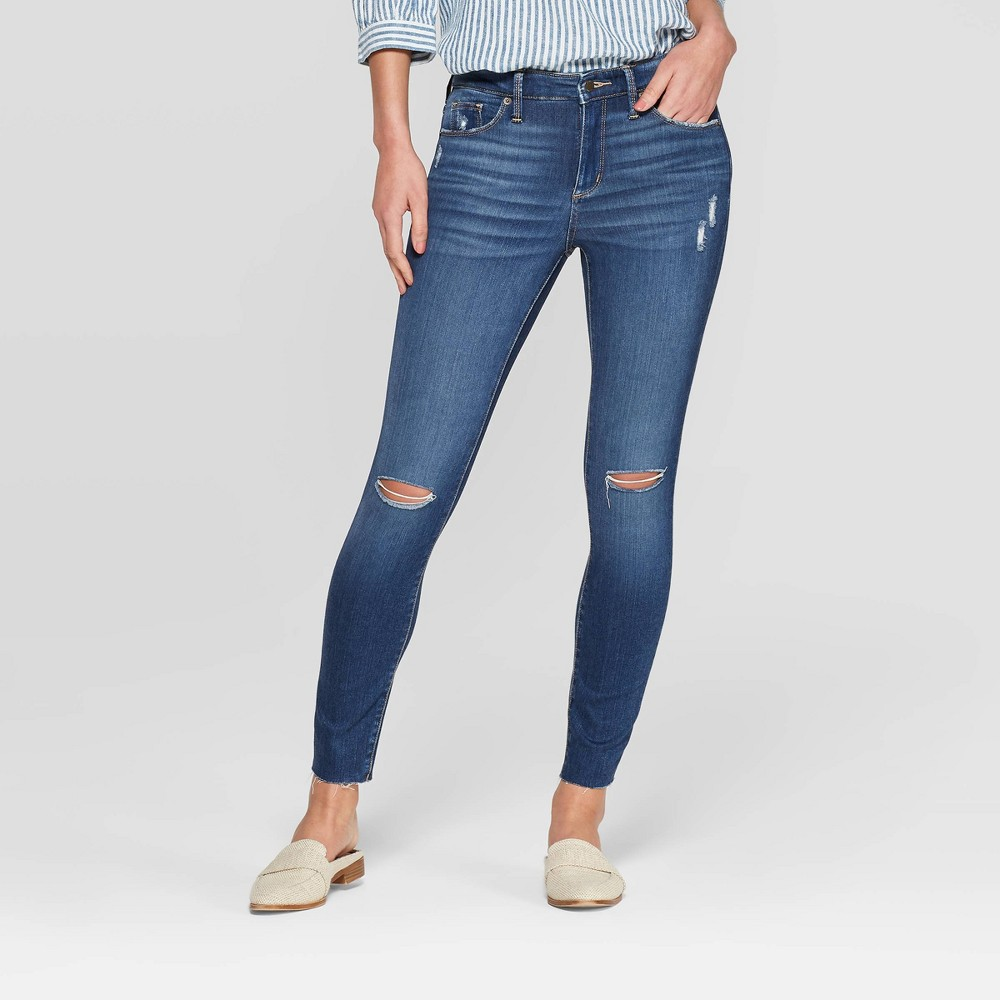 Women's High-Rise Distressed Skinny Jeans - Universal Thread Medium Wash 00, Blue