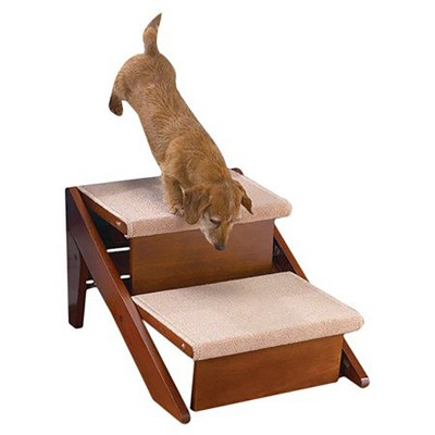 Pet Studio 13 Inch Tall 130 Pound Max Capacity Nonslip Comfortable Carpet Covering Convertible Cat Dog Pet Stair Ramp, 2 Steps, Pine