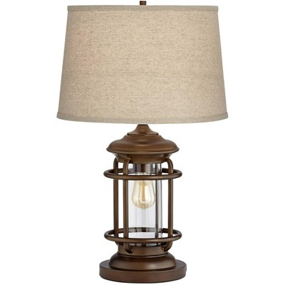 Franklin Iron Works Industrial Table Lamp with Nightlight and USB Port Brown Metal Oatmeal Shade LED Edison Bulb for Living Room