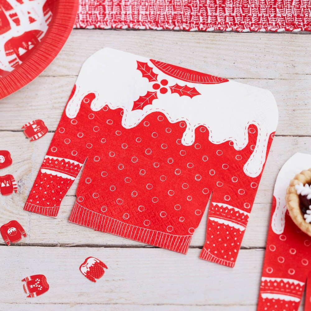 Image of Cosy Christmas Jumper Napkins Red/White