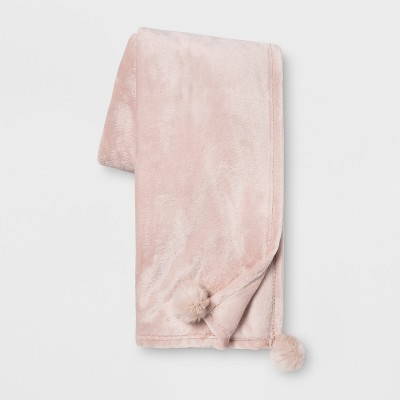 Solid Plush With Faux Fur Poms Throw Blanket Pink - Opalhouse™