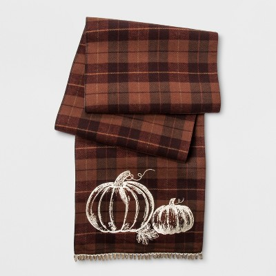 108 X14  Harvest Pumpkin Plaid Runner Brown - Threshold™