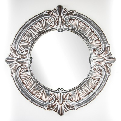 "39"" x 39"" Galvanized Metal Baroque Style Framed Wall Vanity Accent Mirror Whitewashed Gray - American Art Decor"