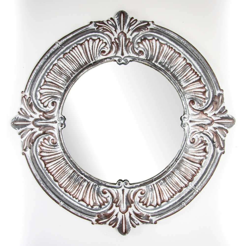 "Image of ""38.58""""x1.18""""x38.58"""" Decorative Metal Wall Mirror Gray - E2 Concepts"""