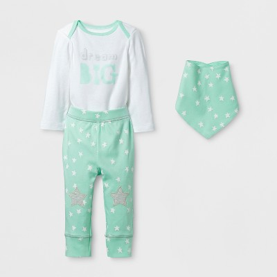Baby 3pc Dream Big Bodysuit, Pants and Bib Set Cloud Island™ - Mint/White 0-3M